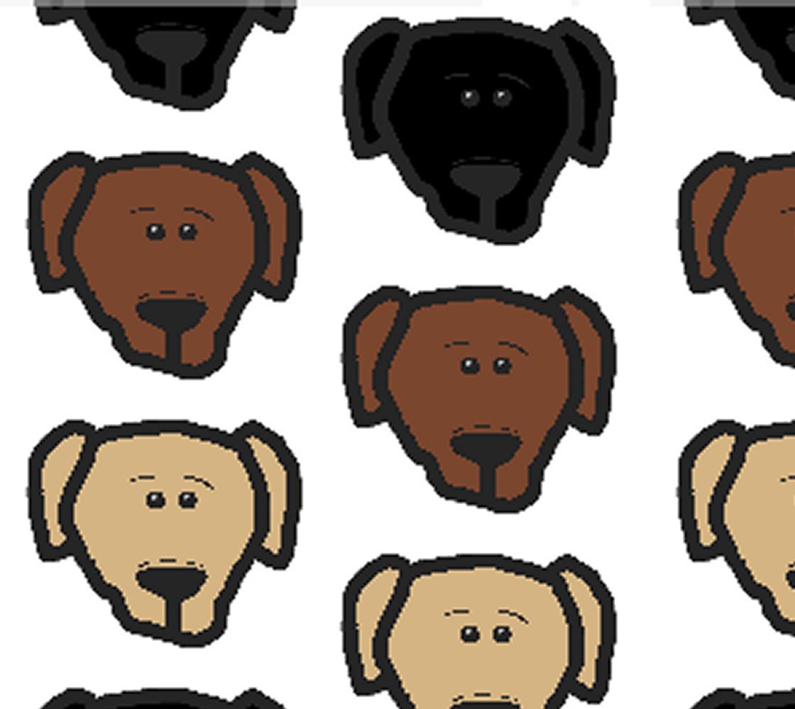 Labrador Retriever all 3 colors cartoon heads fabric preview