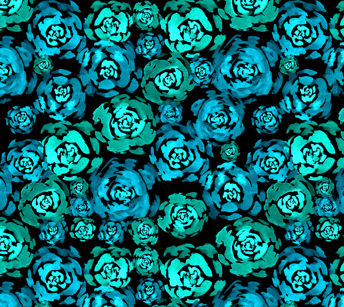 Turquoise Roses Pattern Fabric preview