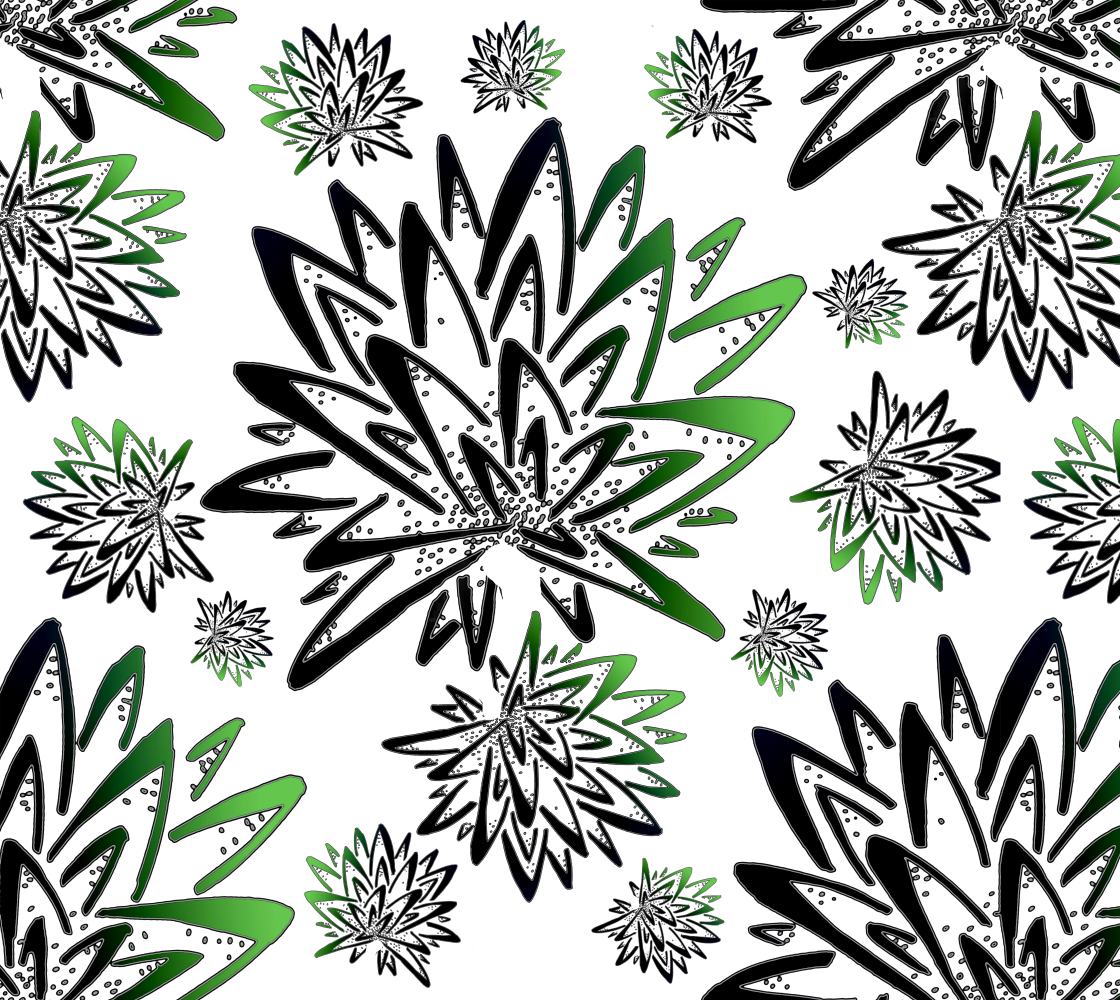 Abstract Green Thistles Pattern Fabric preview