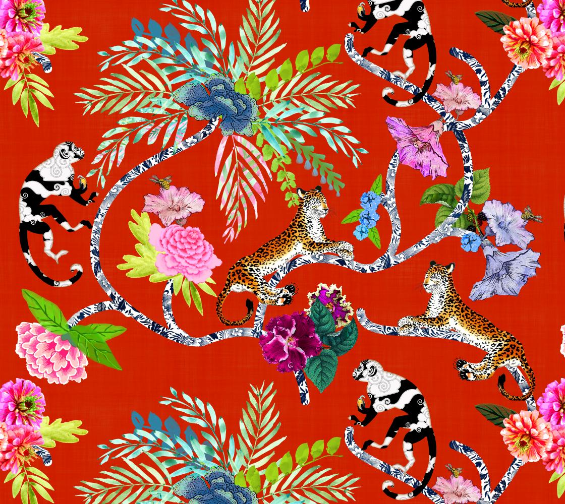 "Aperçu de Chinoiserie ""Frolic"" - Fabric"