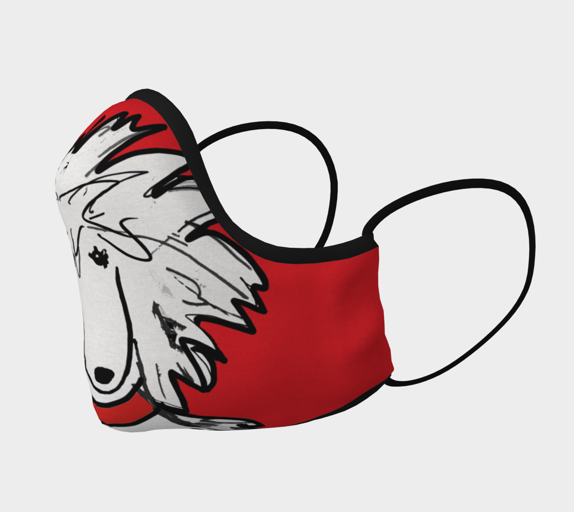 FACE MASK - Sergio Poodle Mask RED background thumbnail #3