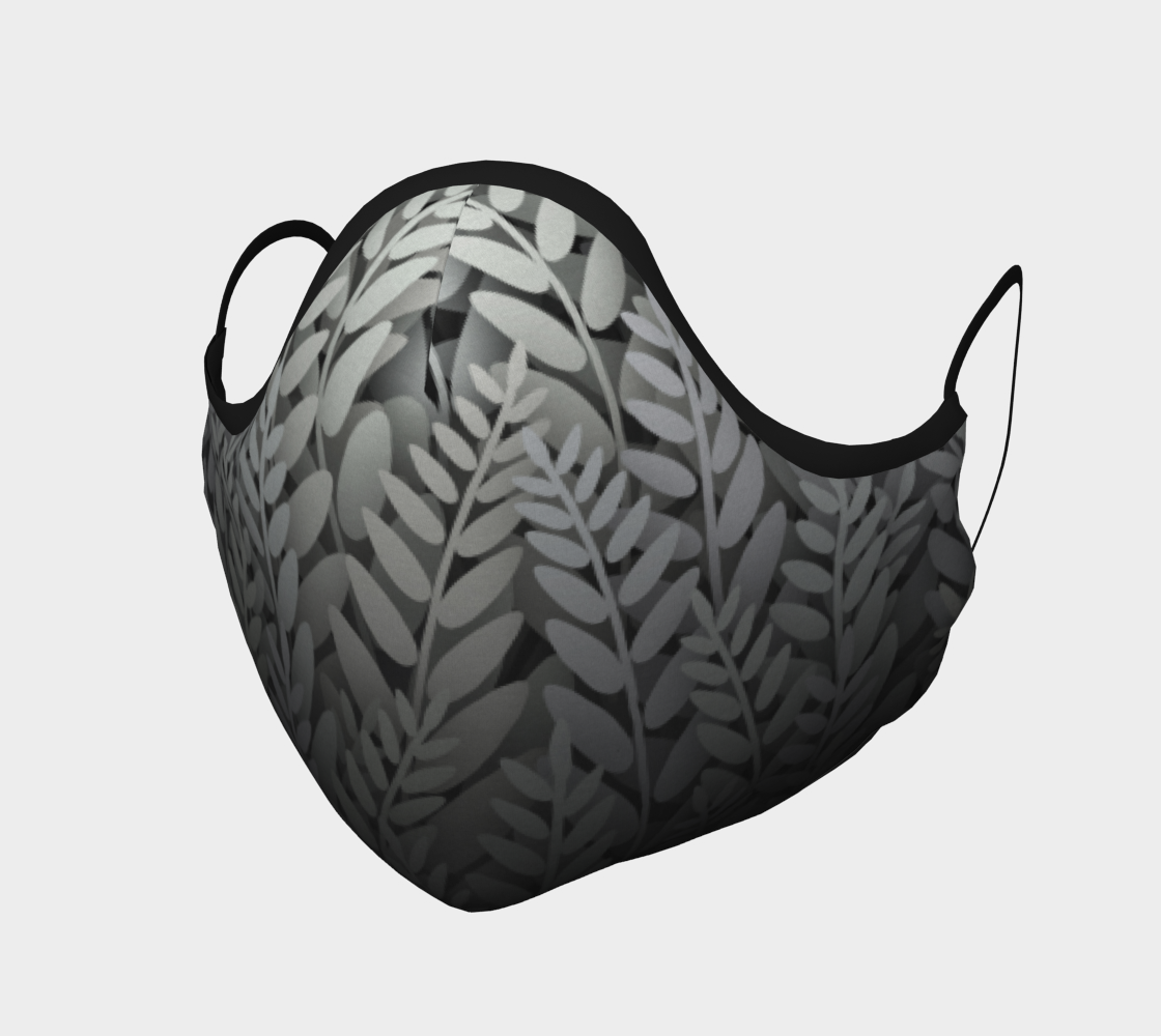 Face Mask - Ferns Black and White preview