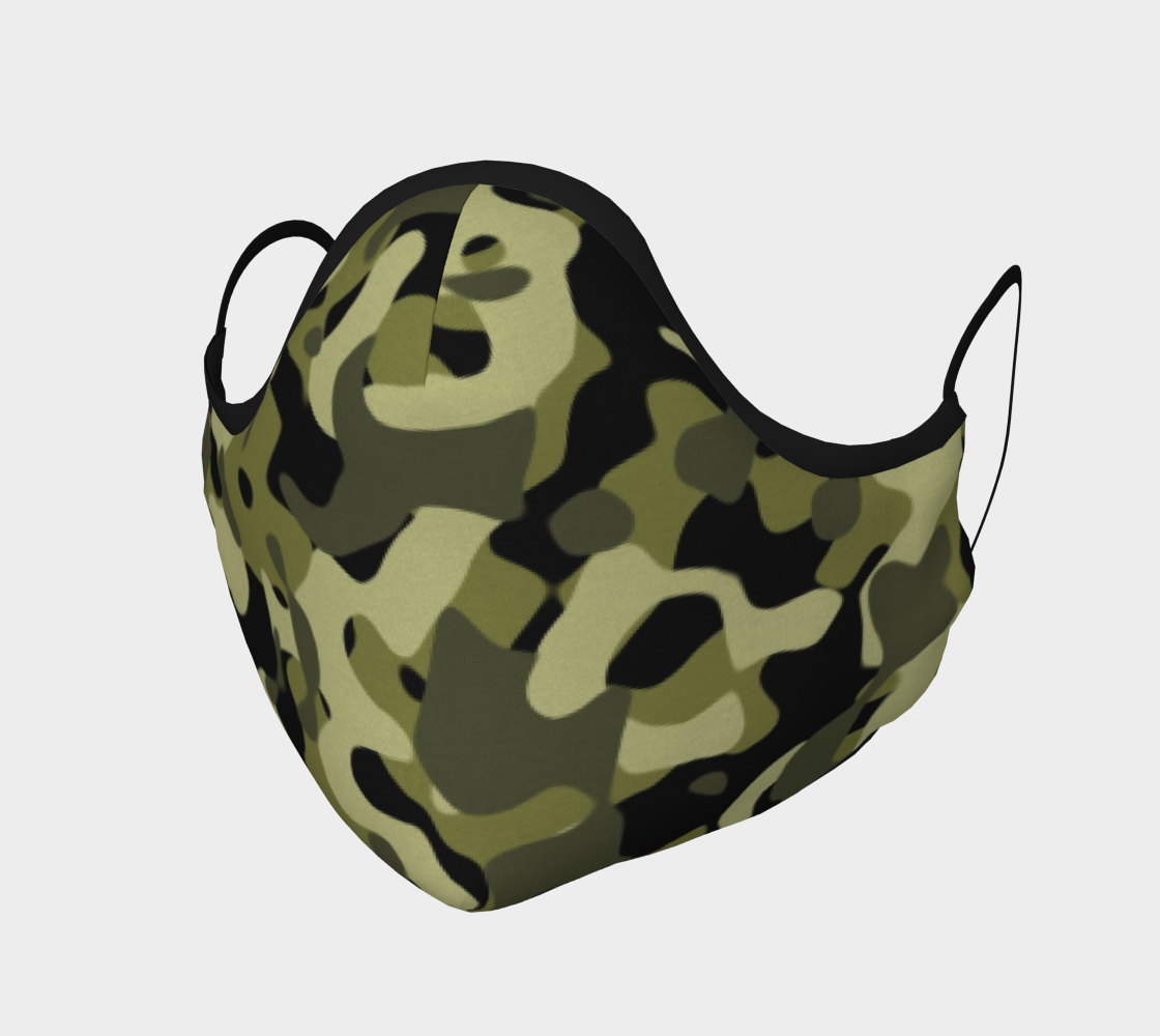 Camouflage Face Mask In Green Black Large Print preview