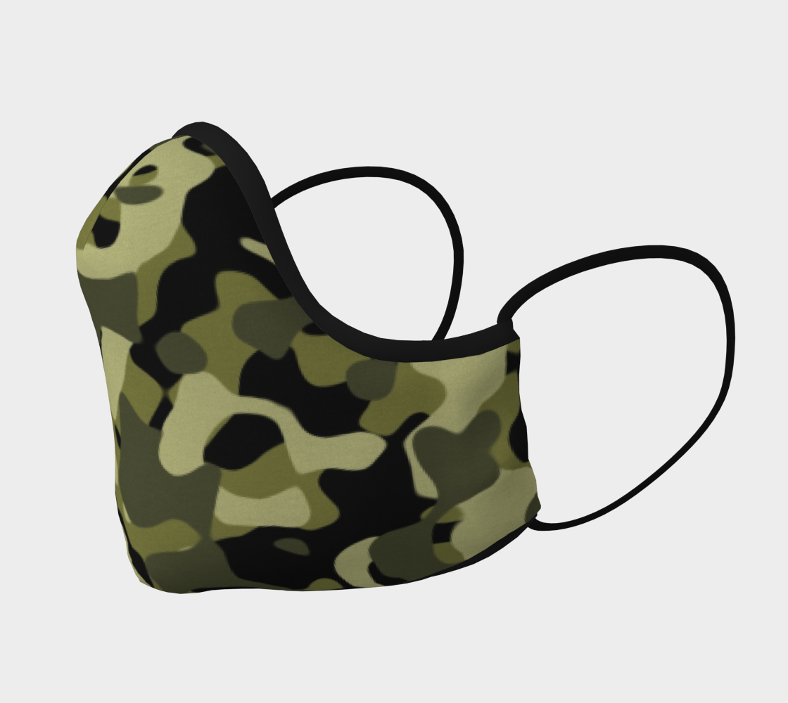 Camouflage Face Mask In Green Black Large Print preview #2