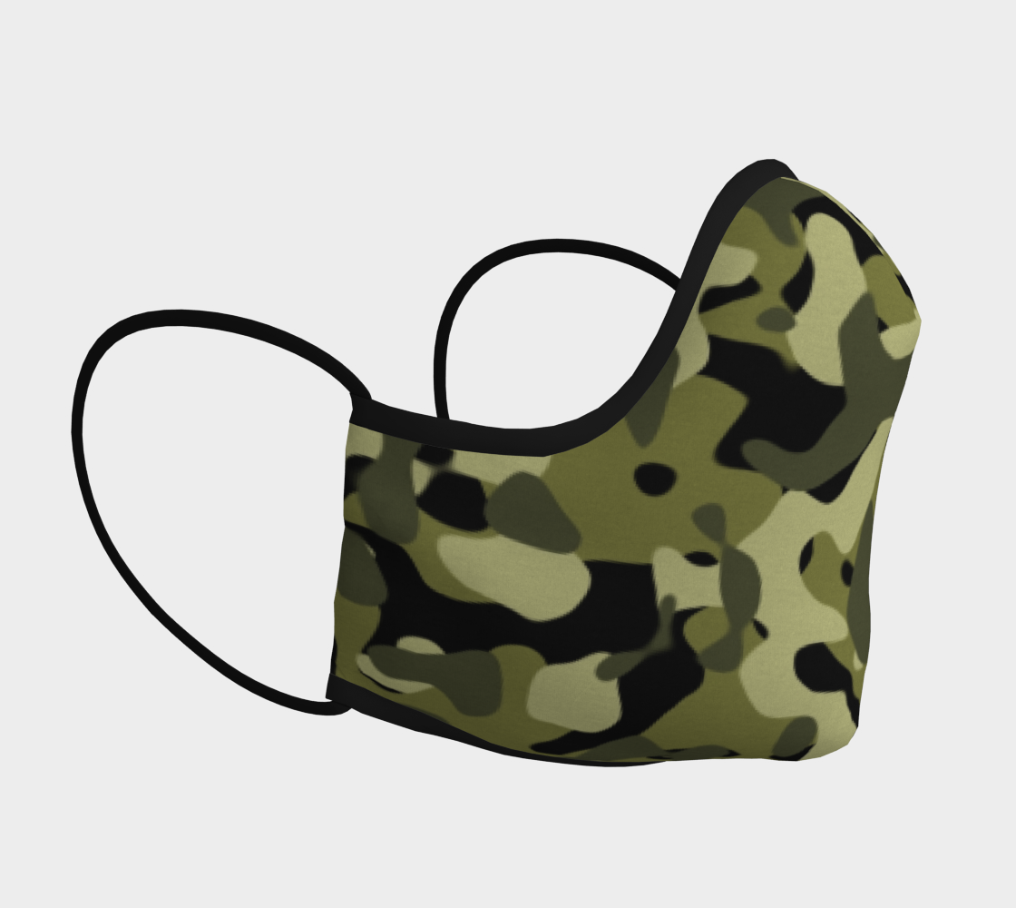 Camouflage Face Mask In Green Black Large Print preview #3