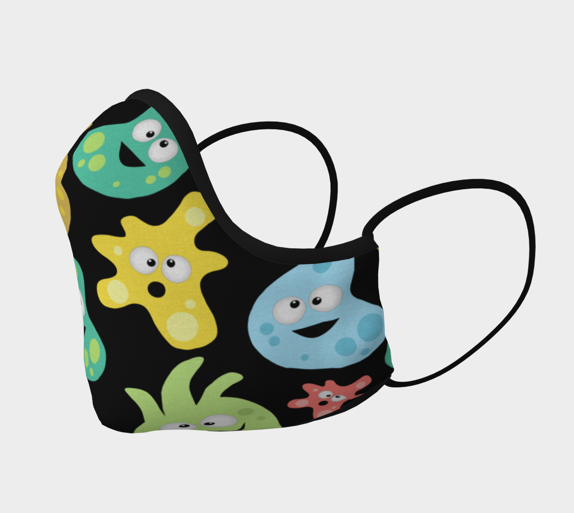 Cartoon Cute Germs Viruses Bacteria Science Face Mask preview #2