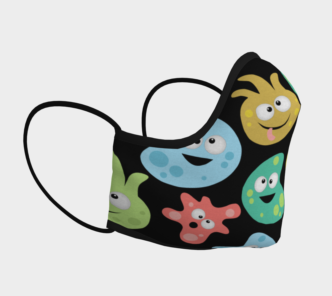 Cartoon Cute Germs Viruses Bacteria Science Face Mask preview #3