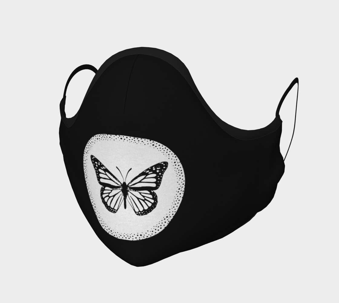 Monarch Butterfly Medallion Black and White Face Mask preview