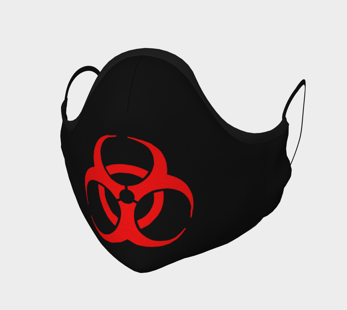 Red Bio Hazard Symbol Sign on Black Face Mask preview #1