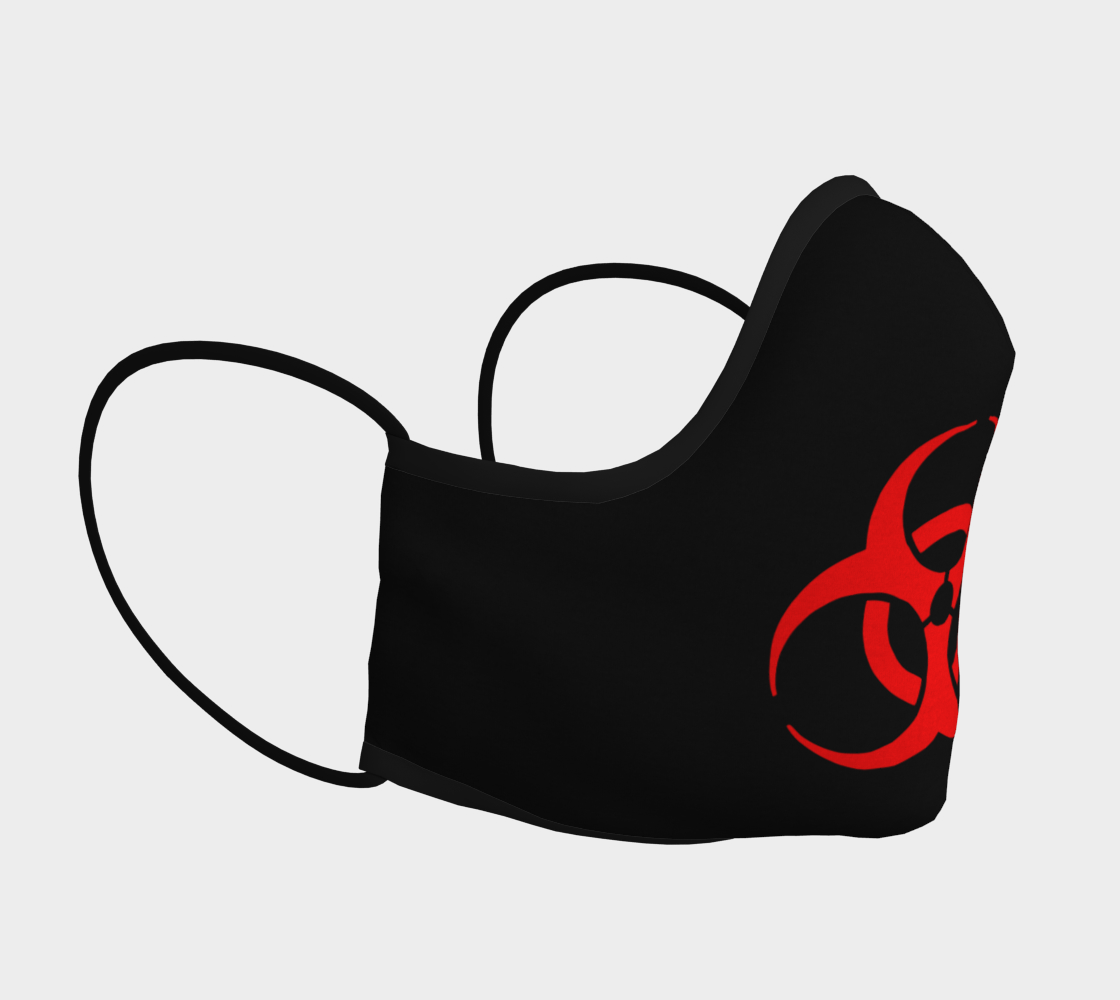 Red Bio Hazard Symbol Sign on Black Face Mask preview #3