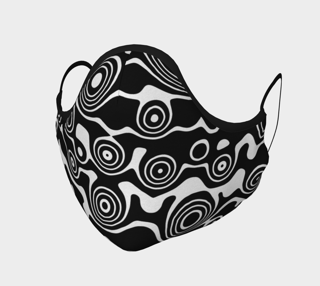 Abstract Black and White Circles Pattern Face Mask Covering preview #1