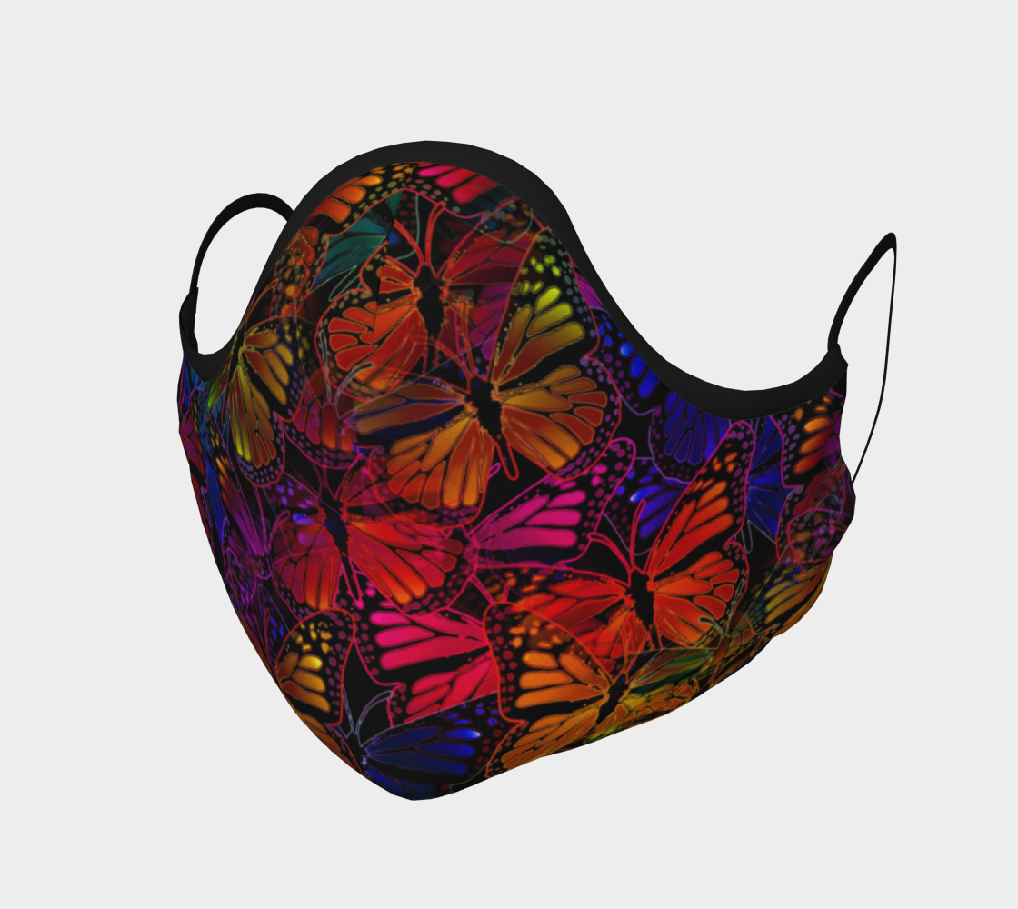 Colorful Dark Rainbow Butterfly Collage Face Mask preview #1