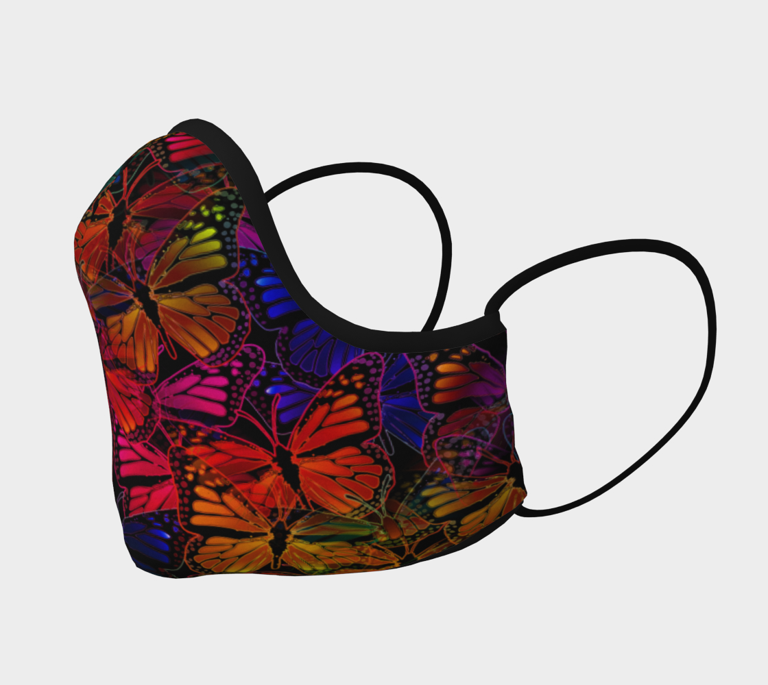 Colorful Dark Rainbow Butterfly Collage Face Mask preview #2