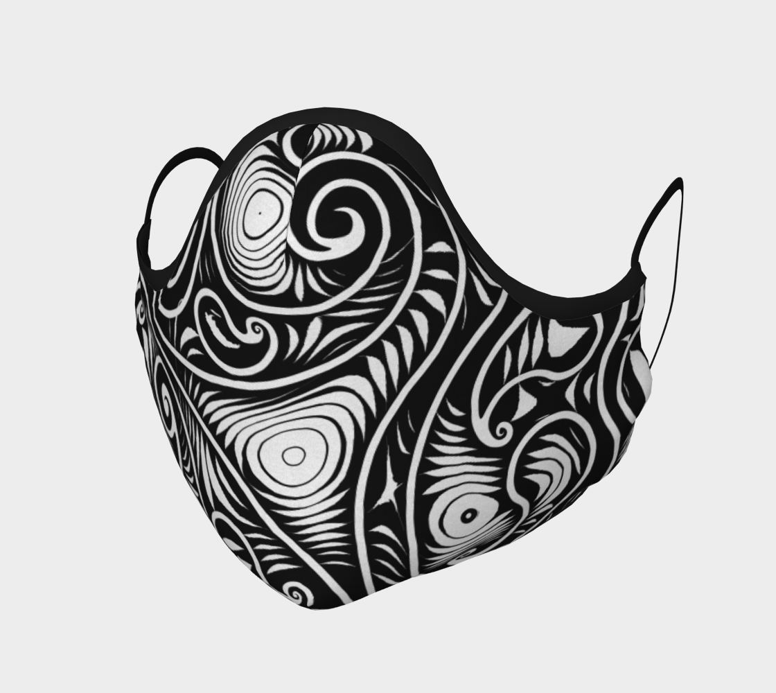 Black and White Spirals and Swirls Pattern Face Mask preview