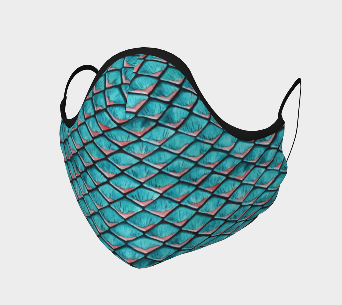 Teal blue and coral pink arapaima mermaid scales pattern Face Covering preview