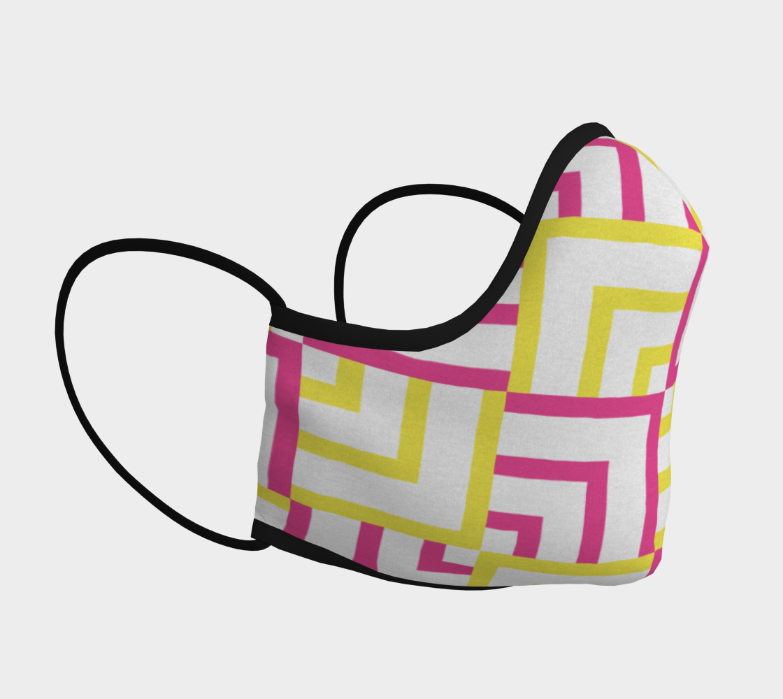 Pink and Yellow Squares Face Covering preview #3