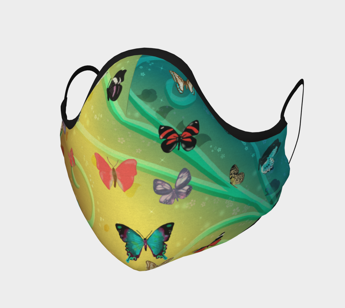 butterflies swirls ombre yellow-aqua preview