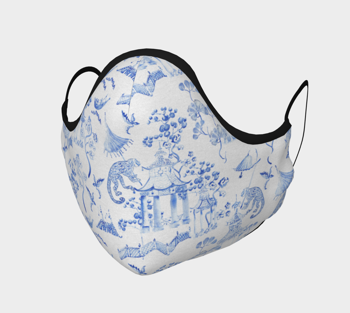 """Aperçu de Chinoiserie Face Covering Mask - """"Chinoiserie Hand Painted Watercolour"""""""