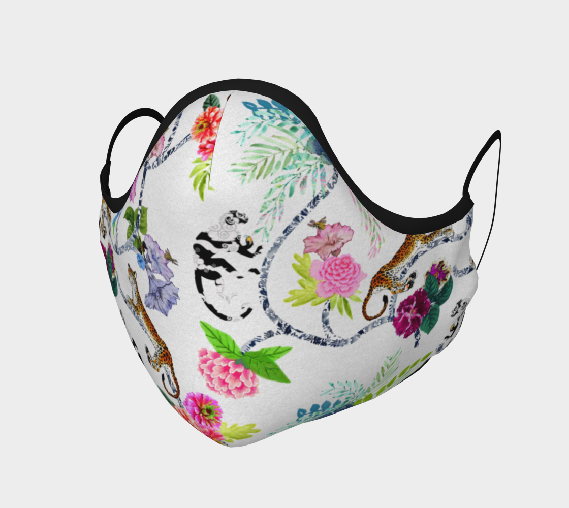 """Aperçu de Chinoiserie Face Covering Mask - """"Chinoiserie Frolic""""   on White"""