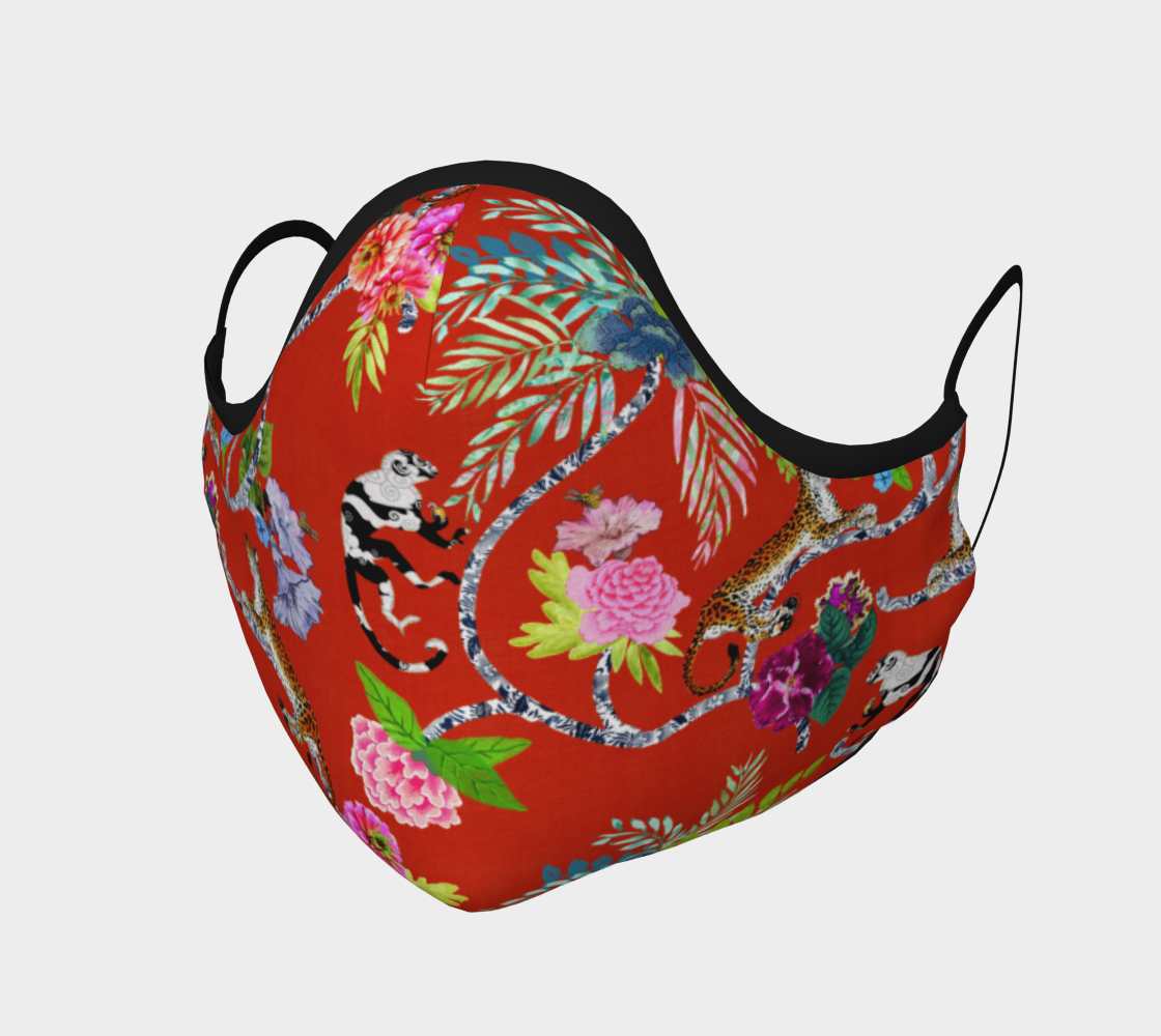 """Aperçu de Chinoiserie Face Covering Mask - """"Chinoiserie Frolic"""" on Red"""