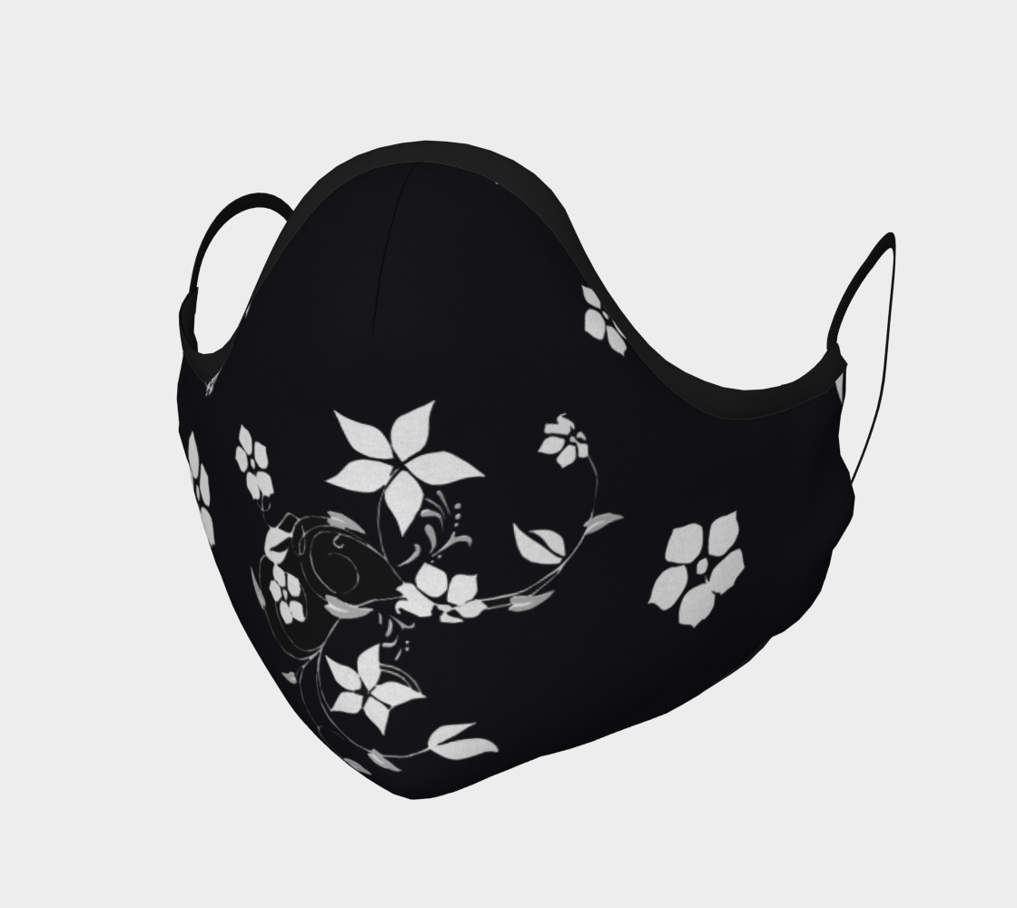 Face Mask White Flowers on Black, AOWSGD