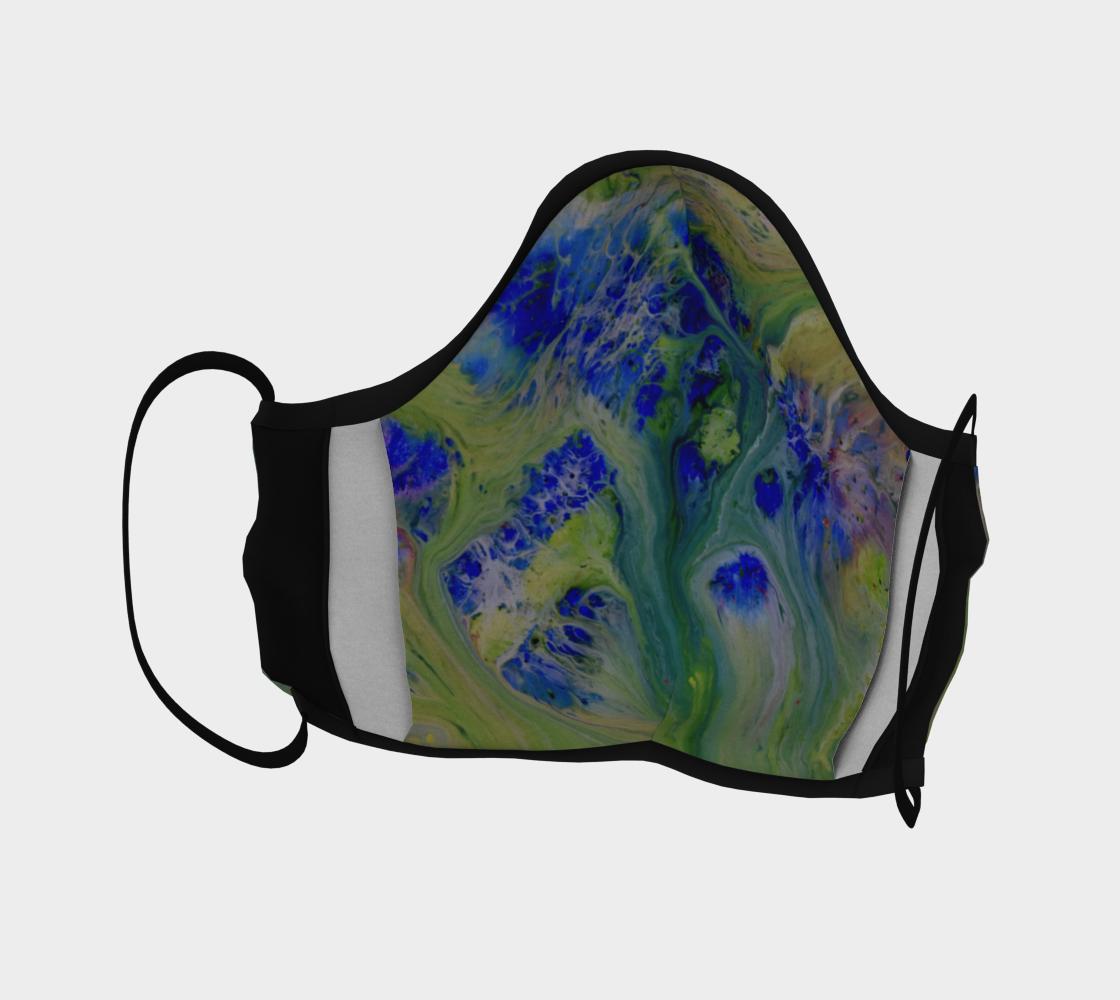 Aperçu de Couvre-visage fleur bleu fond vert abstrait #4