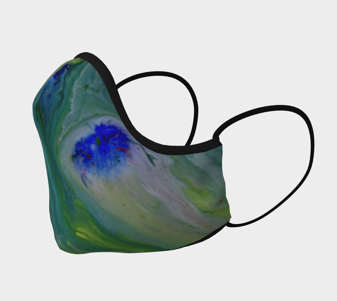 Aperçu de Couvre-visage fleur bleu fond vert abstrait #2