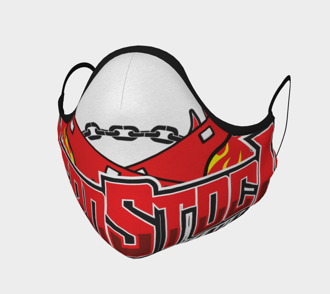 Nerdstock flames logo on mask preview