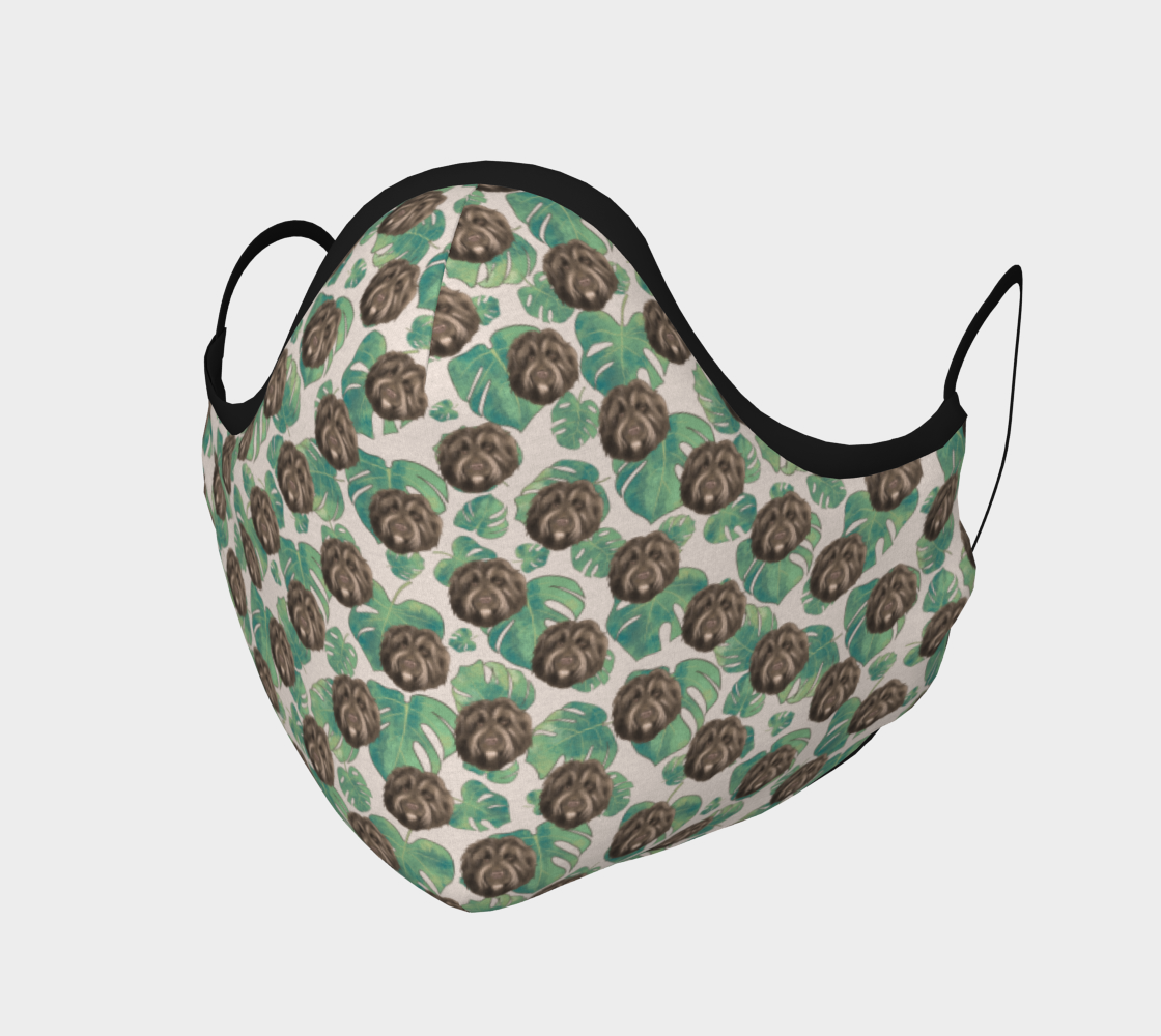 Vintage Tropical Monstera Leaf pattern with Fluffy Dogs preview