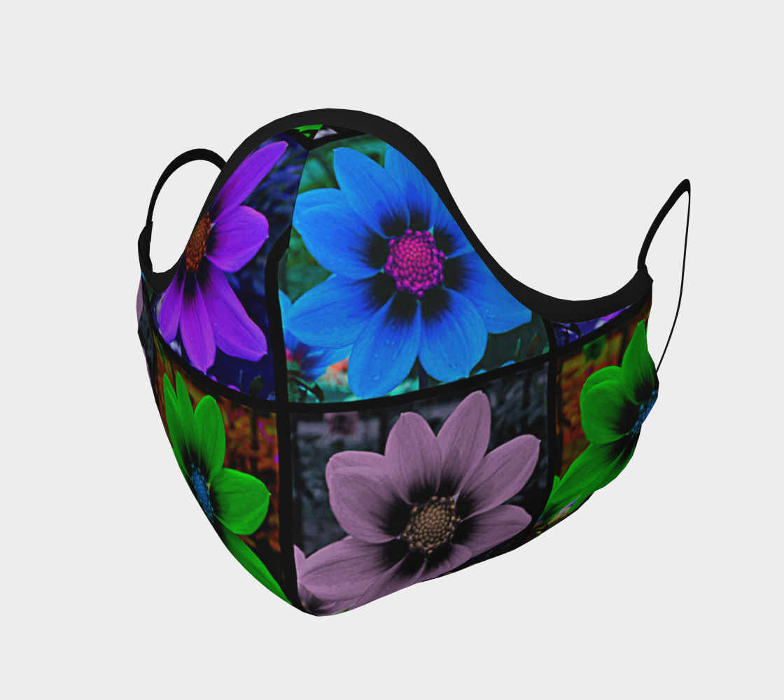 Face Mask Cosmos Flower Pattern in Blue, Purple, Green, Pink, AOWSGD
