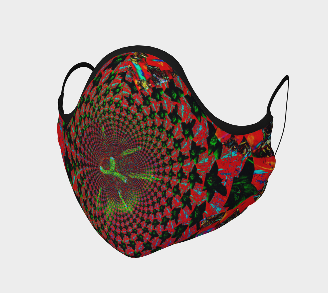 Face Mask Red Flower Fractal and Kaleidoscope Art, AOWSDG
