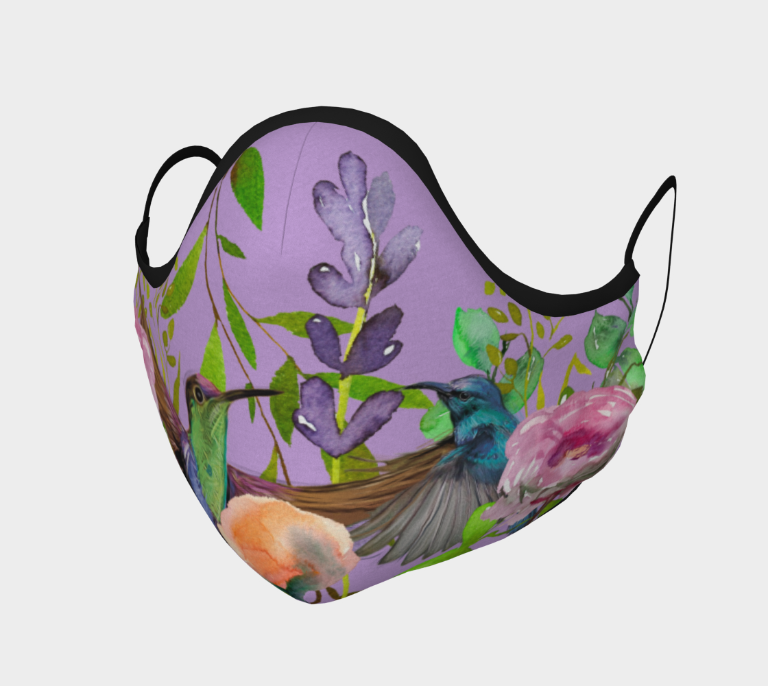 Hummingbirds and Flowers on Purple preview