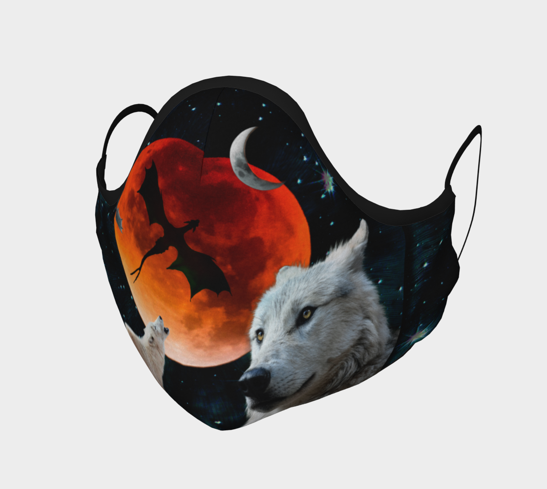 Aperçu de Wolf Moon Protective Face Mask by VCD ©