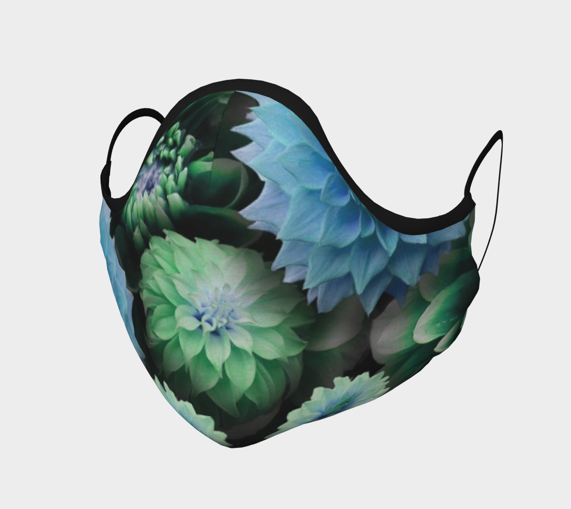 Aperçu de Blue Green Dahlias Face Mask