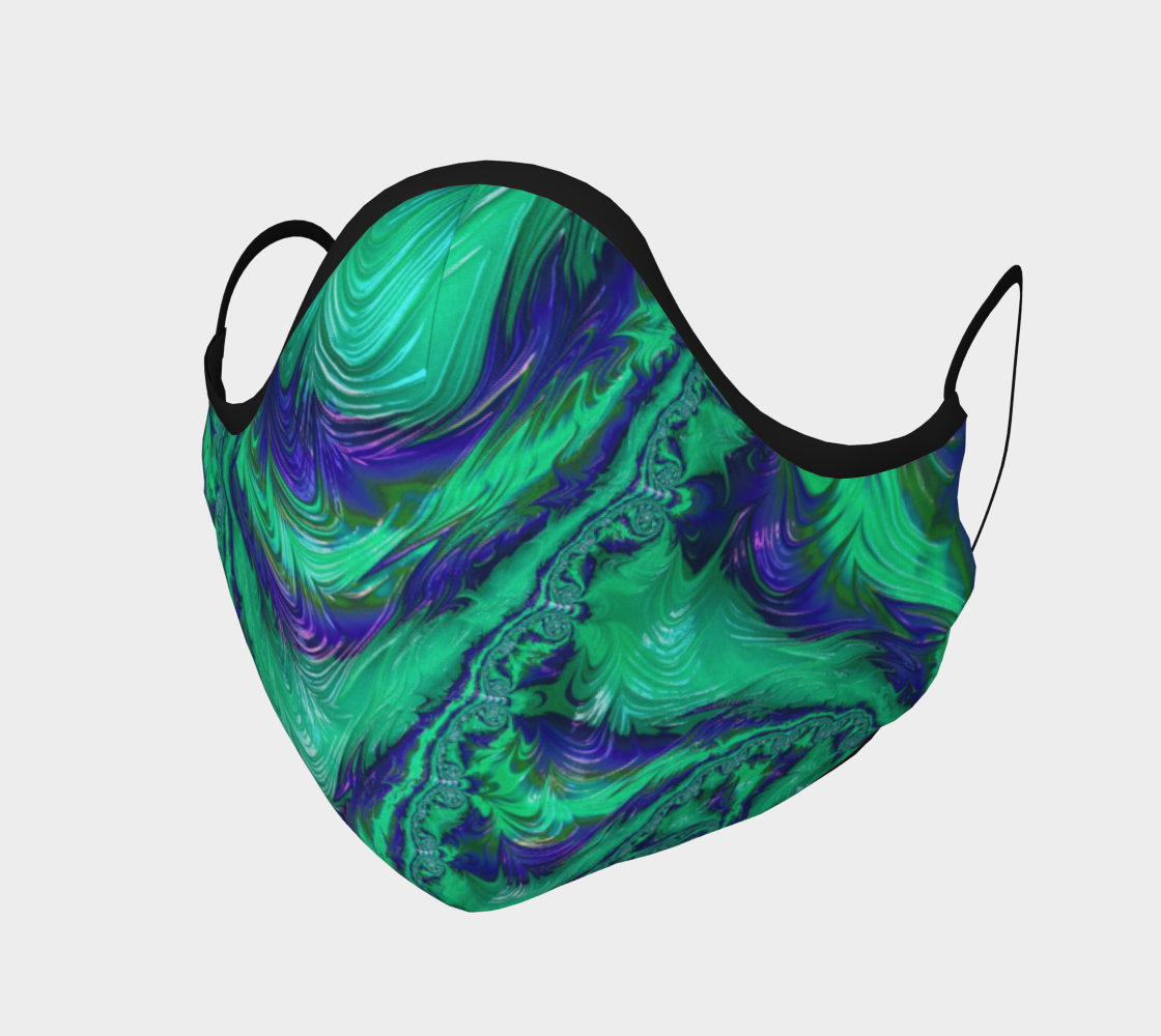 Aperçu de Blue Green Liquid Stripes Fractal Face Mask