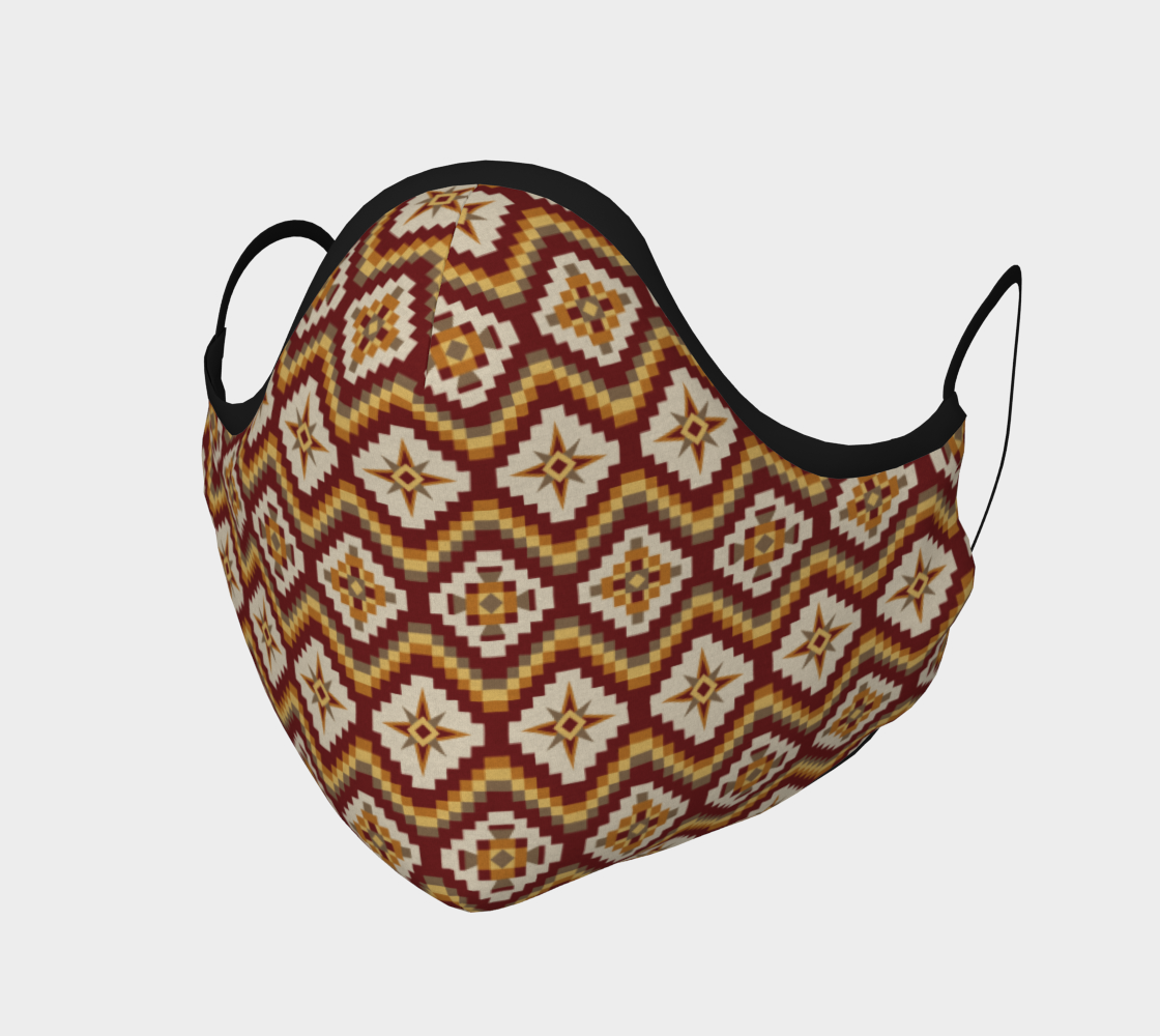 Aztec Tribal Face Mask in Burgundy, Brown and Mustard preview