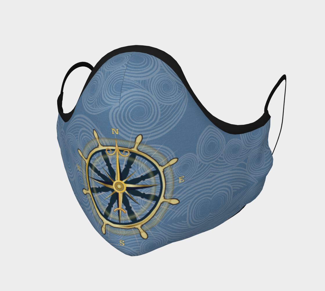 Nautical Compass Rose Face Mask With Blue Swirl Reverse Side preview