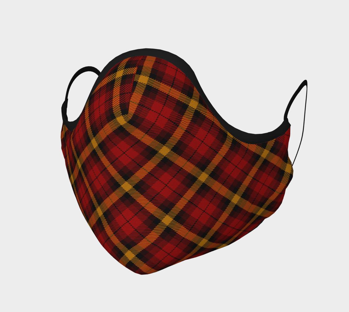 Aperçu de Red Gold Black Tartan Plaid Face Mask