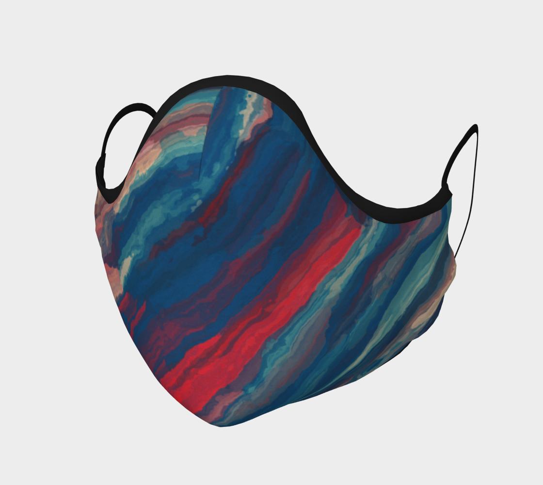 Aperçu de Red Blue Painted Stripes  Face Mask