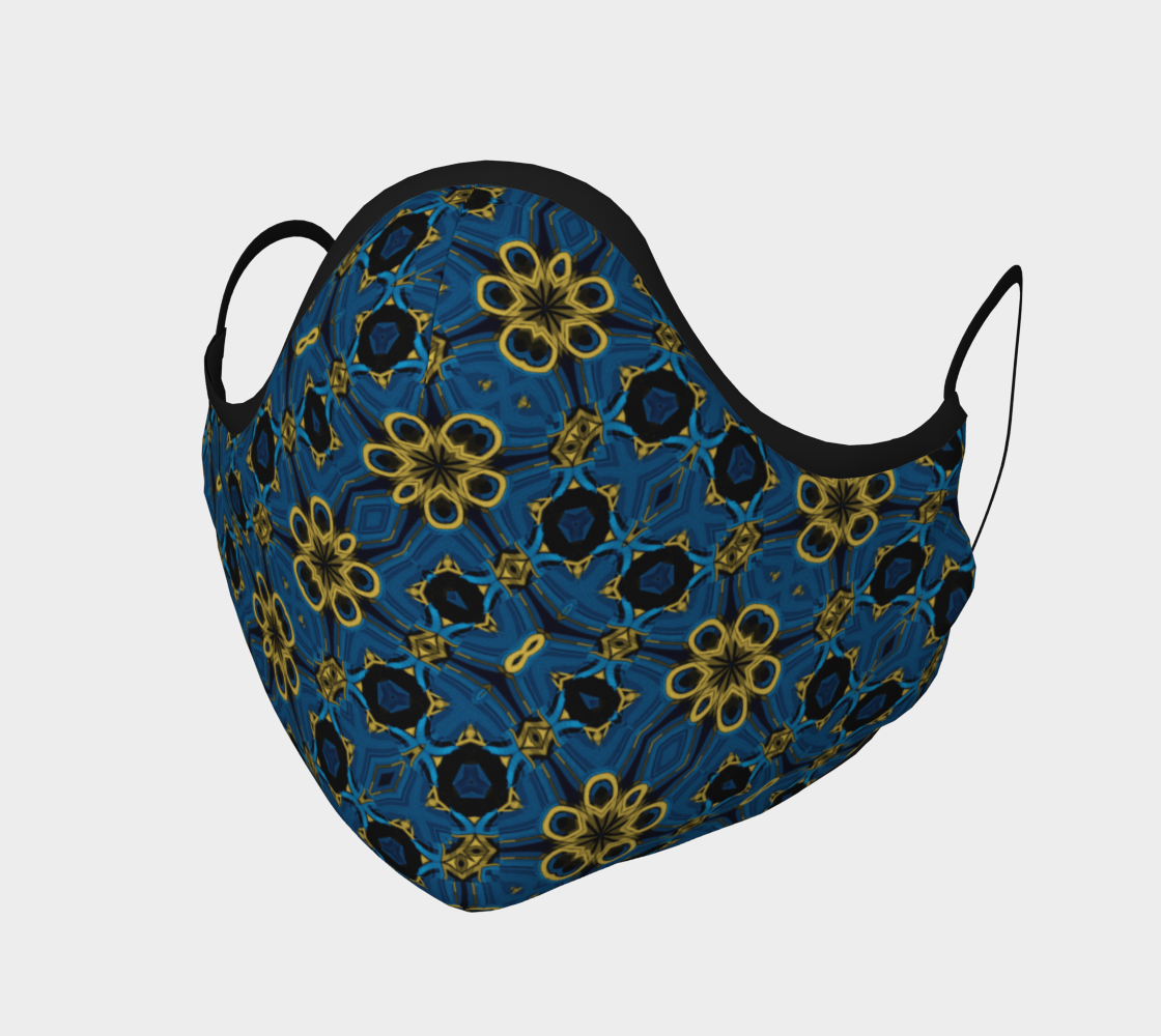 Aperçu de Boho Blue and Yellow Floral Print Face Mask