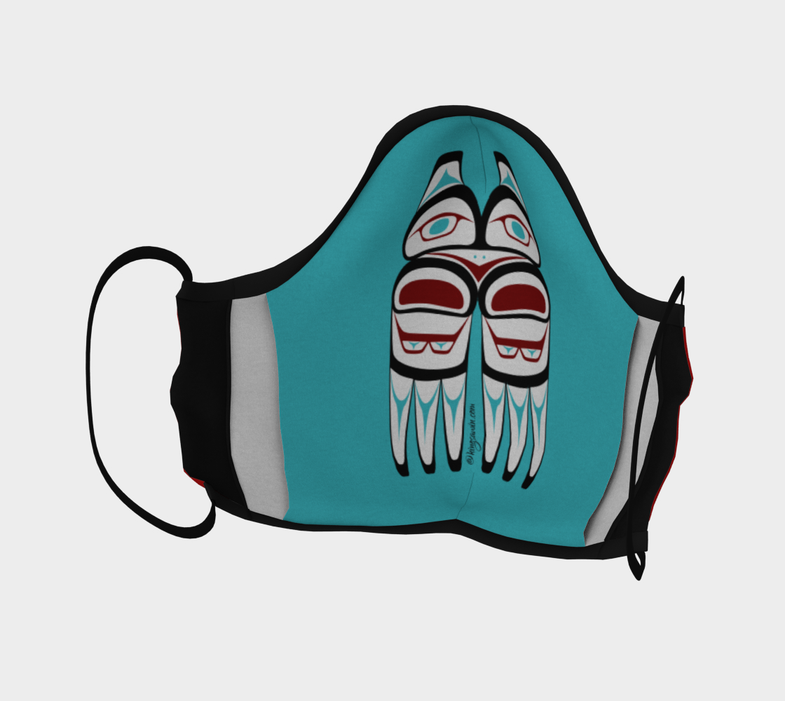 Warrior Totem Pacific Northwest Formline Face Mask Red Background Teal Inside preview #4