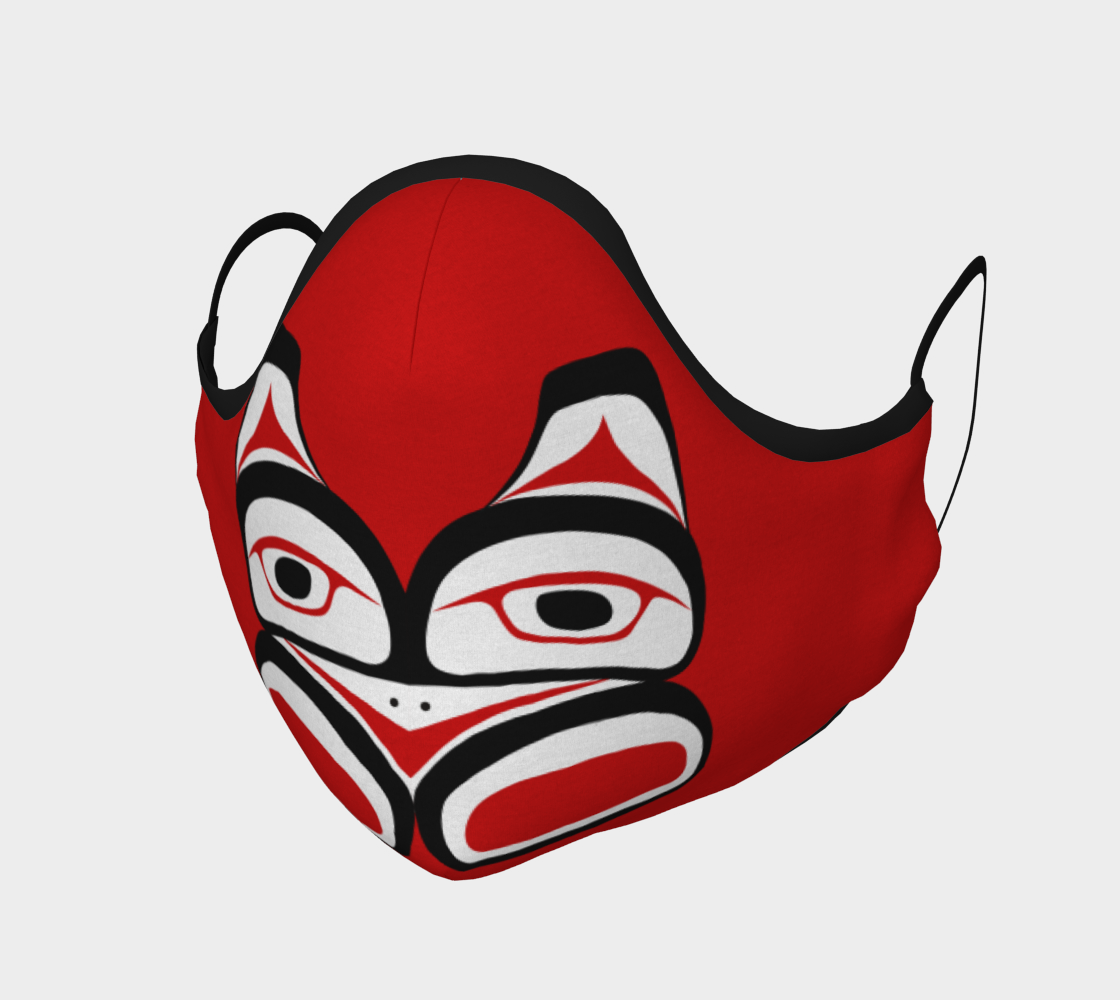 Warrior Totem Pacific Northwest Formline Face Mask Red Background Teal Inside preview #1