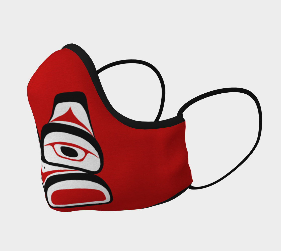 Warrior Totem Pacific Northwest Formline Face Mask Red Background Teal Inside preview #2