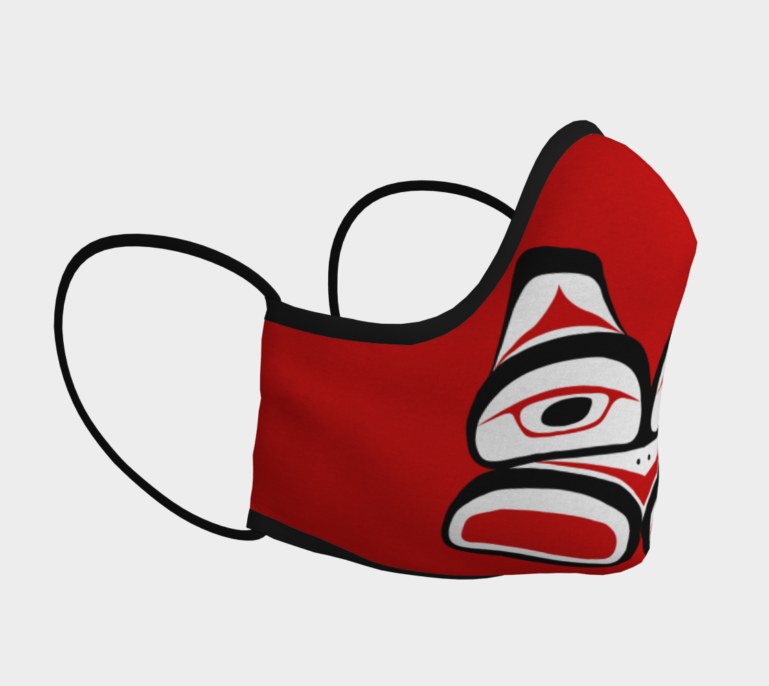 Warrior Totem Pacific Northwest Formline Face Mask Red Background Teal Inside preview #3