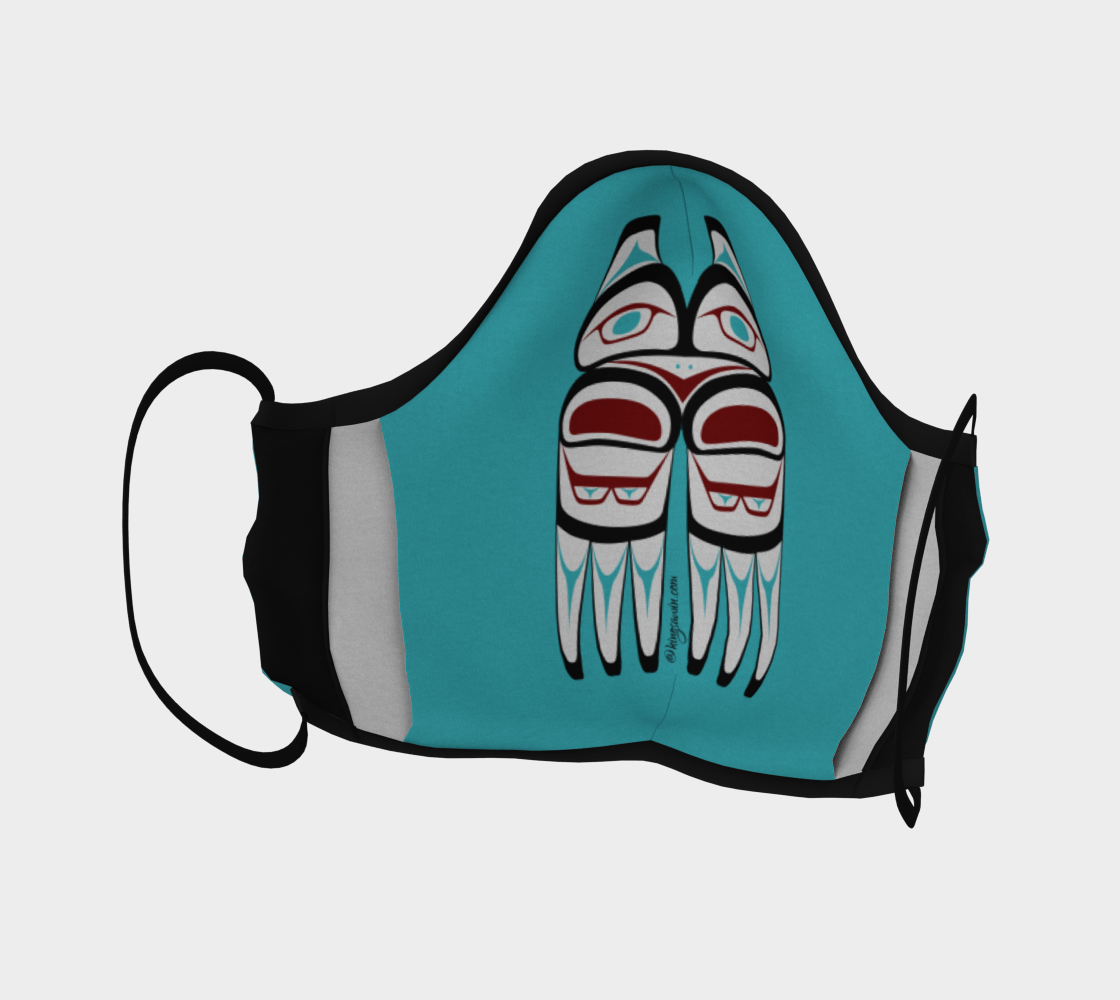 Warrior Totem Pacific Northwest Formline Face Mask Teal Background With Teal Inside Designs preview #4