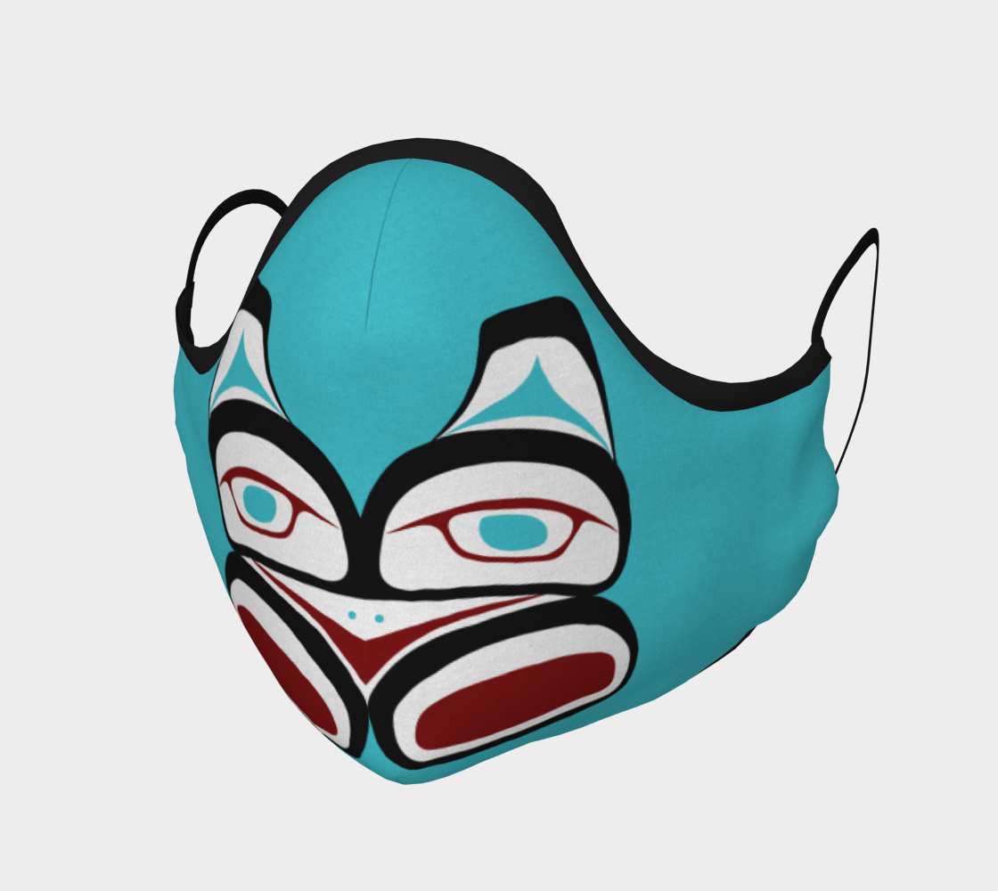 Warrior Totem Pacific Northwest Formline Face Mask Teal Background With Teal Inside Designs preview