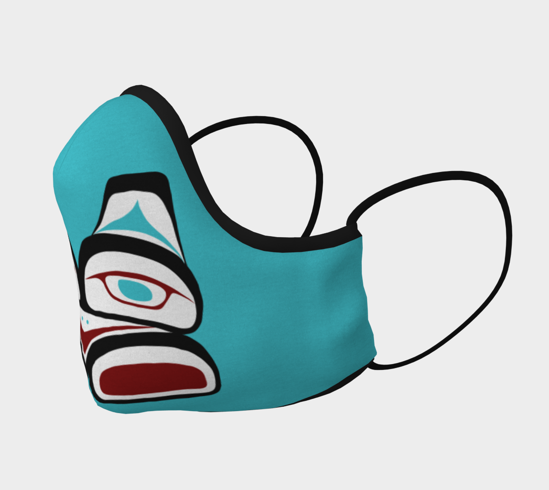 Warrior Totem Pacific Northwest Formline Face Mask Teal Background With Teal Inside Designs preview #2
