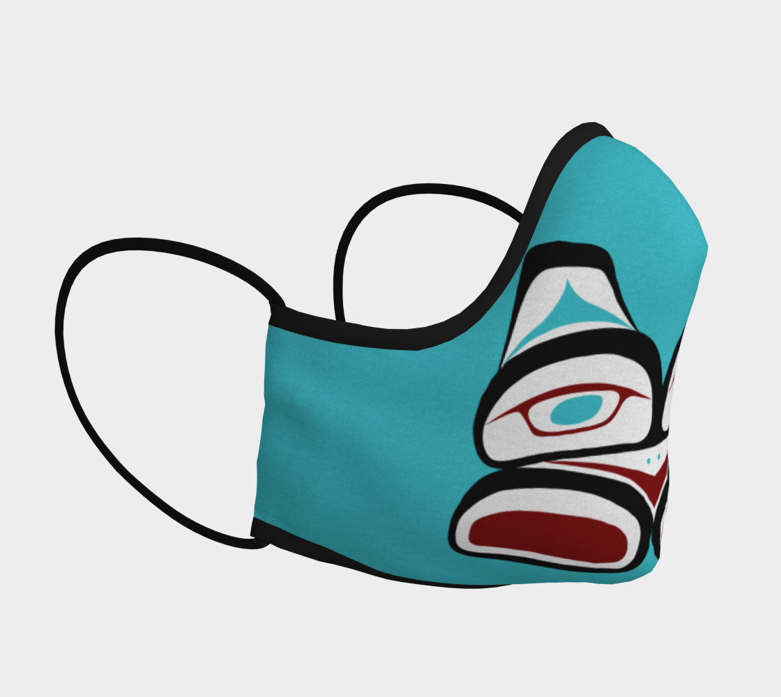 Warrior Totem Pacific Northwest Formline Face Mask Teal Background With Teal Inside Designs preview #3