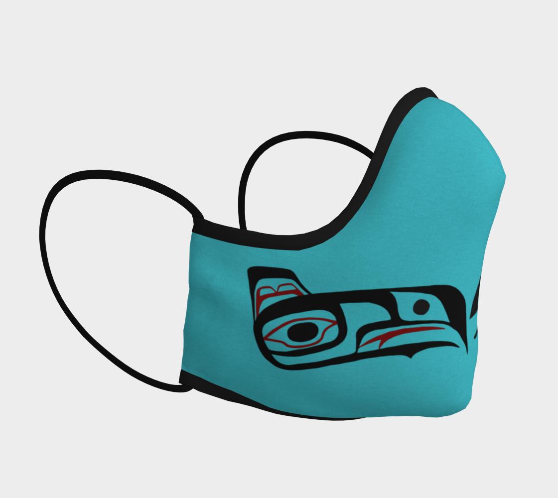 Eagle Raven Northwest Art Tlingit  Facemask Teal on Reverse preview #3