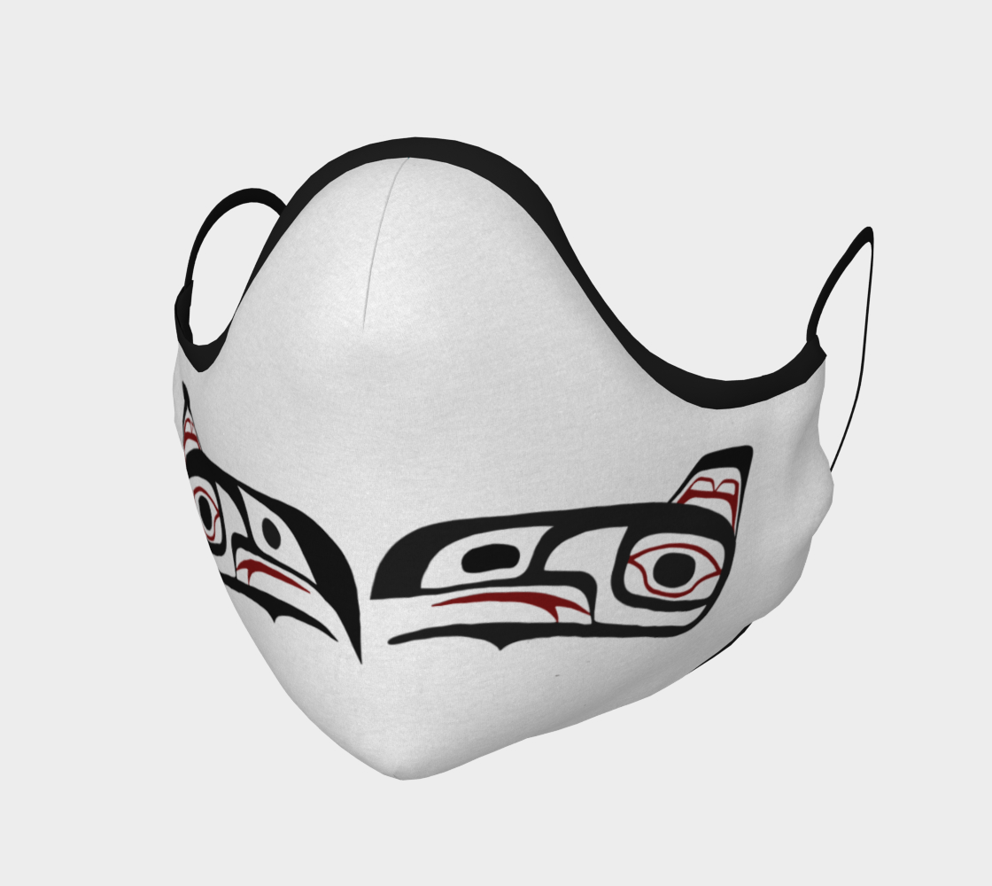 Eagle Raven Northwest Art Tlingit Face Mask on White With Teal on Reverse preview